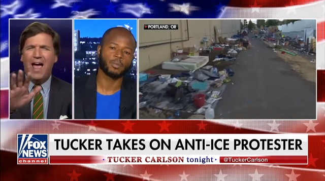 Photo of Tucker to Occupy ICE Protester: Why Can't You Use Your 'People Power' to Pick Up Your Trash?