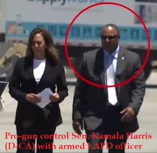 Photo of Gun-control Hypocrite: Sen. Kamala Harris protected by armed police