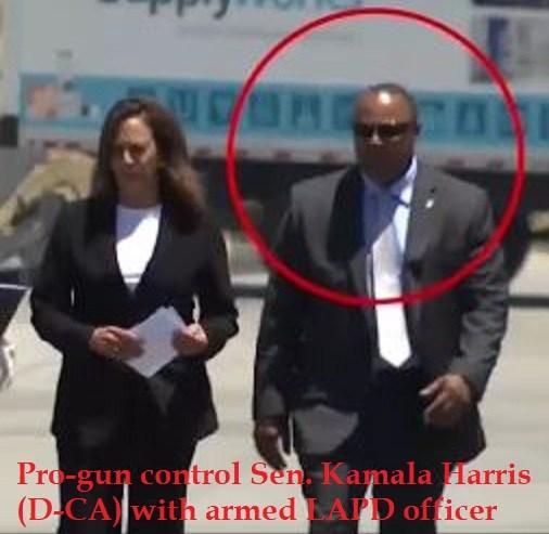 Gun-control Hypocrite: Sen. Kamala Harris protected by armed police