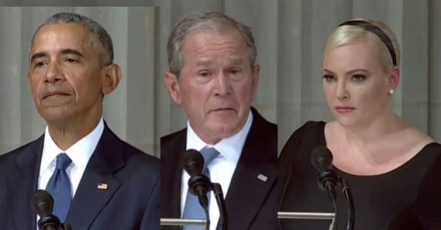 Photo of Obama, Bush, Meghan McCain Turn McCain Memorial Into A Trump Bash-Fest