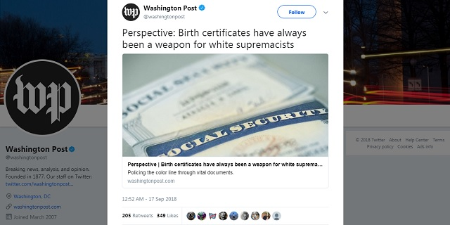Photo of WashPo: 'Birth Certificates Have Always Been a Weapon For White Supremacists'