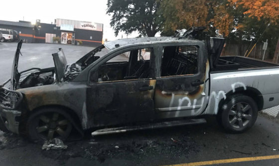 Photo of Truck Set On FIRE Because of Pro-Trump Stickers