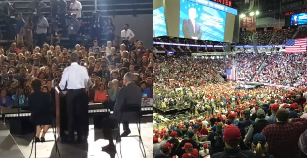 Photo of Photos: Numbers at Trump Rally Dwarf Those at Obama Event