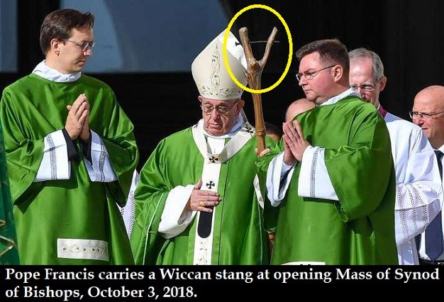 Photo of The Apostasy of Pope Francis: Wiccan stang and an LGBT rainbow cross