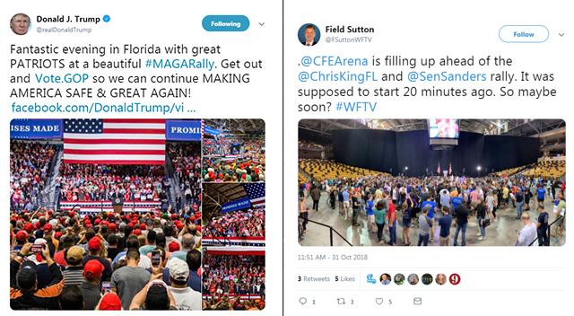 Blue Wave Meets RED TSUNAMI — In Florida Trump/DeSantis Speak to 8300, Bernie/Gillum Speak to 200-300