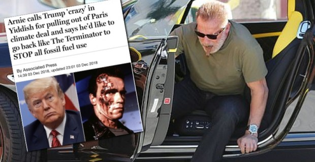 """Photo of Arnold Schwarzenegger Says He Would Eliminate """"Evil"""" Fossil Fuels (After Buying $265,000 Bentley Continental)"""