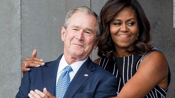 Photo of George W. Bush and Michelle Obama  – Partners in Crime!