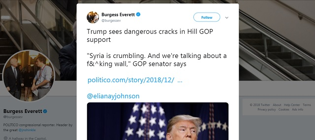Photo of GOP Senator: 'Syria Is Crumbling And We're Talking About A F**king Wall'