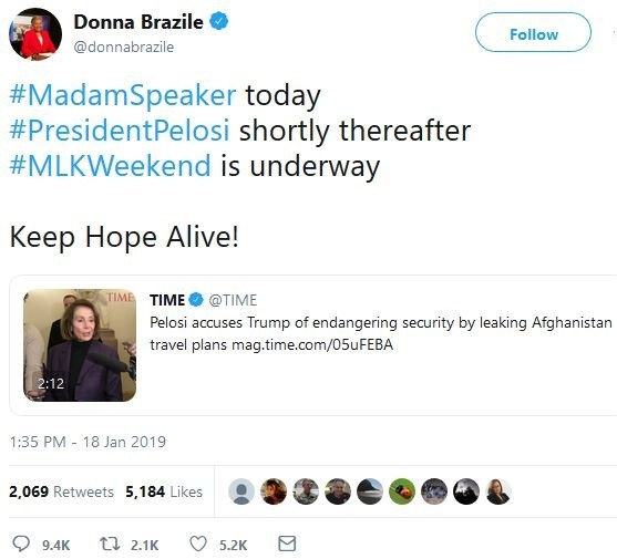 "Photo of Donna Brazile's cryptic ""President Pelosi"" tweet and rumors of plot to assassinate Trump"