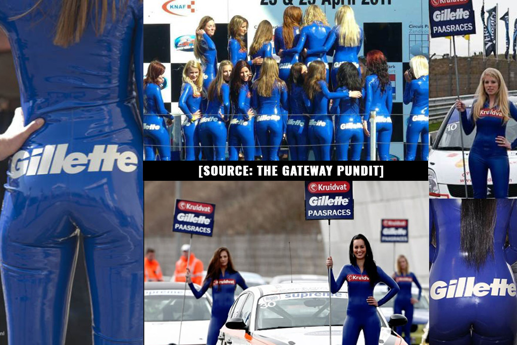 "Photo of Gillette dresses women in skin tight clothing with corporate logo spread across their asses, then lectures men about ""toxic masculinity"""