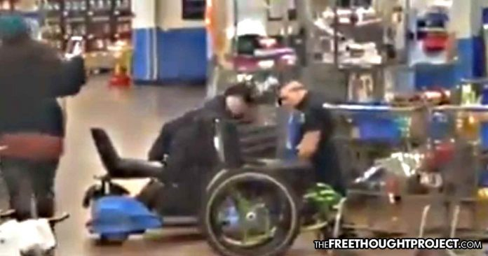 Photo of Muskogee, Oklahoma: Disabled Vet Ripped from Wheelchair, Pepper Sprayed for Questioning Walmart ID Policy
