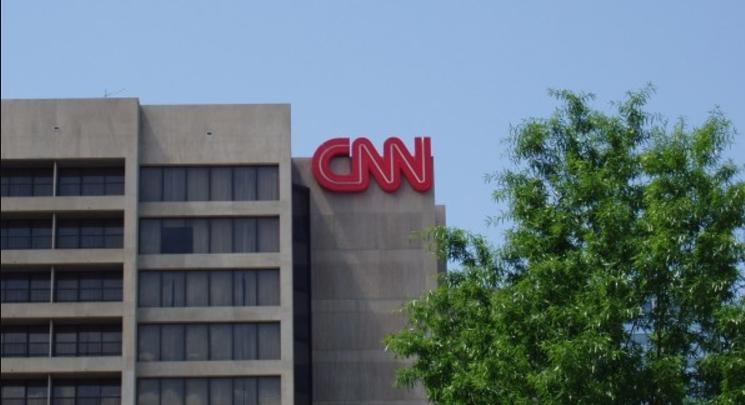 Photo of Patriot group organizing MAGA hat rally & protest at CNN HQ in Atlanta