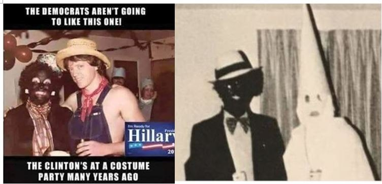 "Photo of Hillary Clinton condemns VA governor Ralph Northam for racism and infanticide, but she supports Planned Parenthood, the KKK, and wore ""BlackFace"" herself"