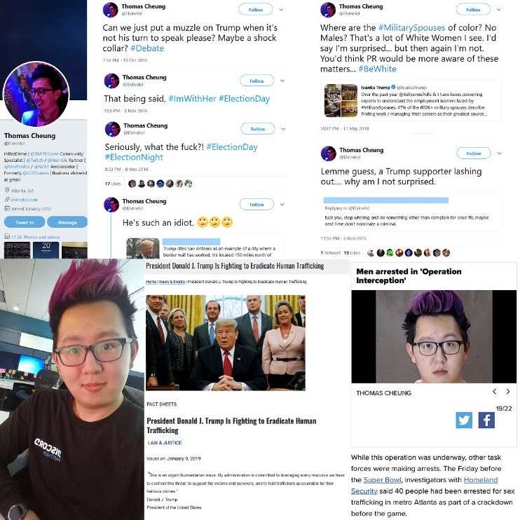Photo of Anti-Trump video-gamer Thomas Cheung arrested in Super Bowl pedophile sting