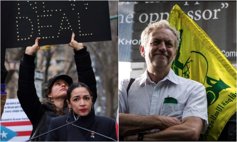 Photo of Simple-minded racist Ocasio-Cortez joins forces with infamous antisemite Jeremy Corbyn, calls for global socialist (Nazi) movement