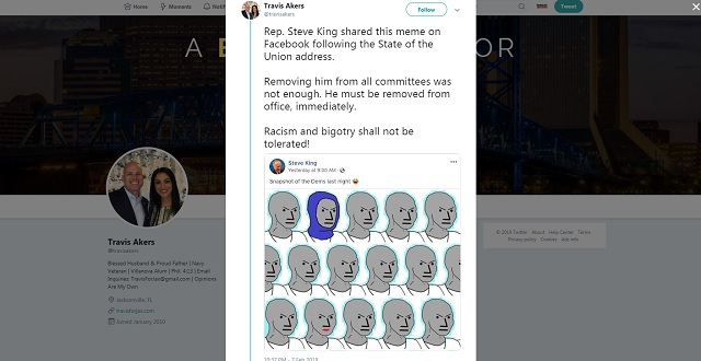 Photo of Liberal Activist Calls for Steve King to Be Removed from Office for Sharing NPC Meme