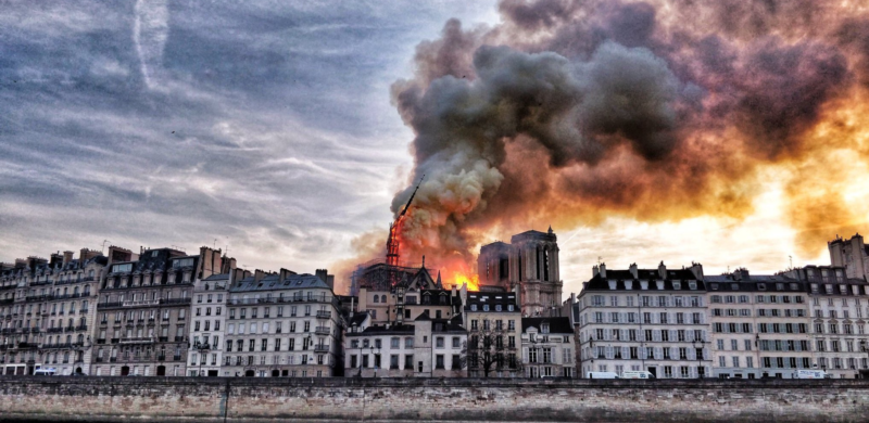 """Photo of Notre Dame Cathedral Inferno """"Intentionally Set"""""""