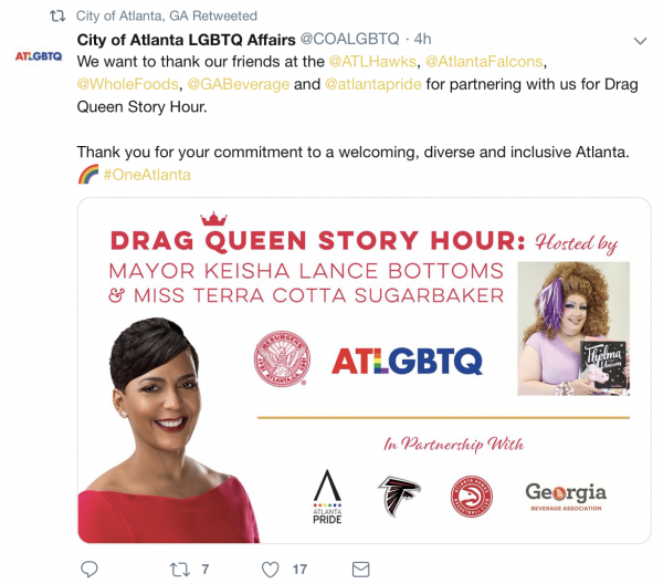 """Photo of Library System Rejected """"Drag Queen Story Hour"""" so… Atlanta Mayor Held it at CITY HALL"""