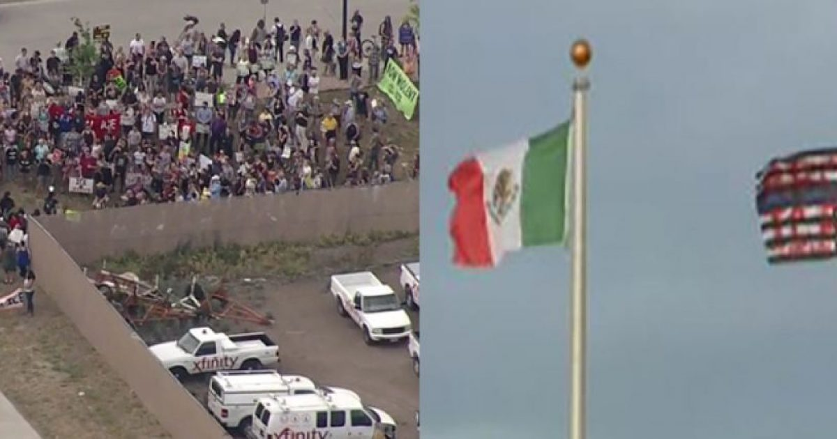 Photo of ICE Protesters in Aurora, CO Rip Down American Flag, Replace it with Mexican Flag