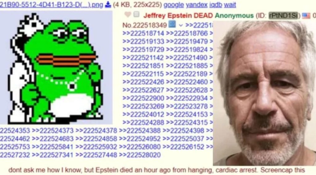 Photo of Jeffrey Epstein's Death Was Reported on 4chan Before Anywhere Else
