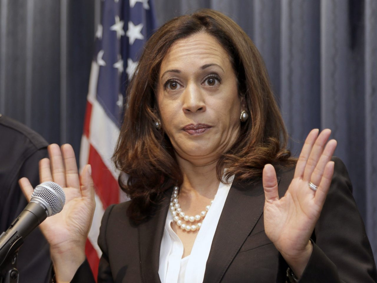 """Photo of Kamala Harris accused of keeping blacks jailed to provide """"slave wage labor"""" to the state of California"""