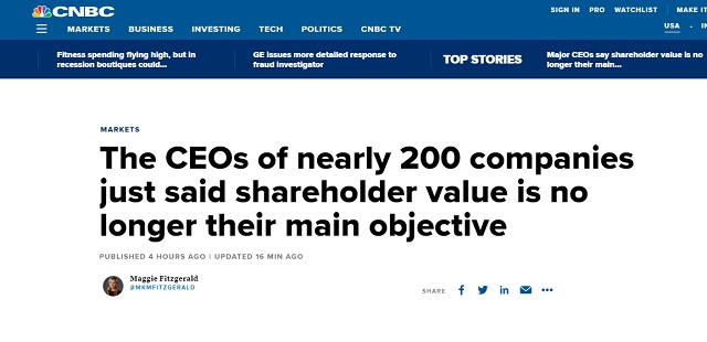 Photo of Progressive Globalism Before Profits: CEOs of Nearly 200 Companies 'Shareholder Value is No Longer Our Main Objective'