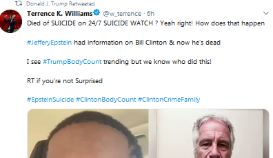 """Photo of Trump & 84,000 Others Make #ClintonBodyCount Trend on Twitter After Epstein """"Suicide"""" — Twitter Shuts It Down"""