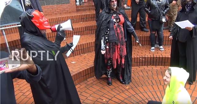 'Hail Satan!' Antifa Transsexuals Stage Satanic Ritual In Downtown Portland to Protest Patriot Prayer