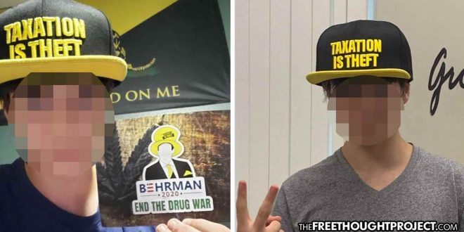 Photo of Student Suspended for 5 Days Over 'Taxation is Theft' Hat, 'End the Drug War' Flyer