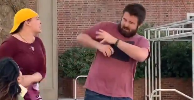 Photo of Video: Student Leftist Has Violent Hissy Fit Over 'All Lives Matter' Sign
