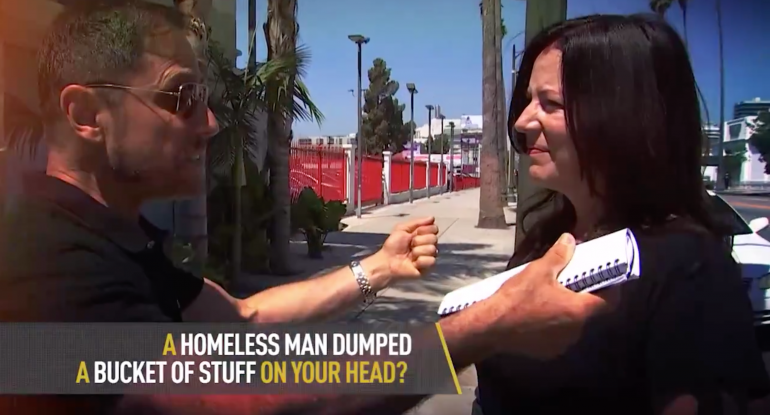 Photo of Results of Decades of Liberal Policy: Homeless Man Dumps Bucket of Hot Diarhhea on Woman's Head in Los Angeles