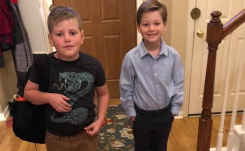 Photo of 7-year-old James Younger, whose mom tried to 'transition' him, chooses to attend school as a BOY