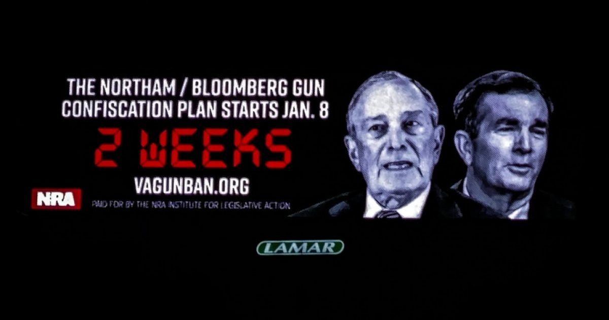 Photo of NRA-Sponsored Billboards in Virginia Warn: 'Northam/Bloomberg gun confiscation plan starts Jan. 8'