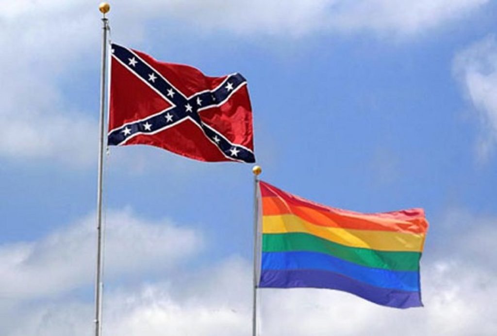 Photo of West Plains High School Students Pass Out Gay Pride Flags in Cafeteria, Objecting Students Respond by Putting Up Rebel Flag