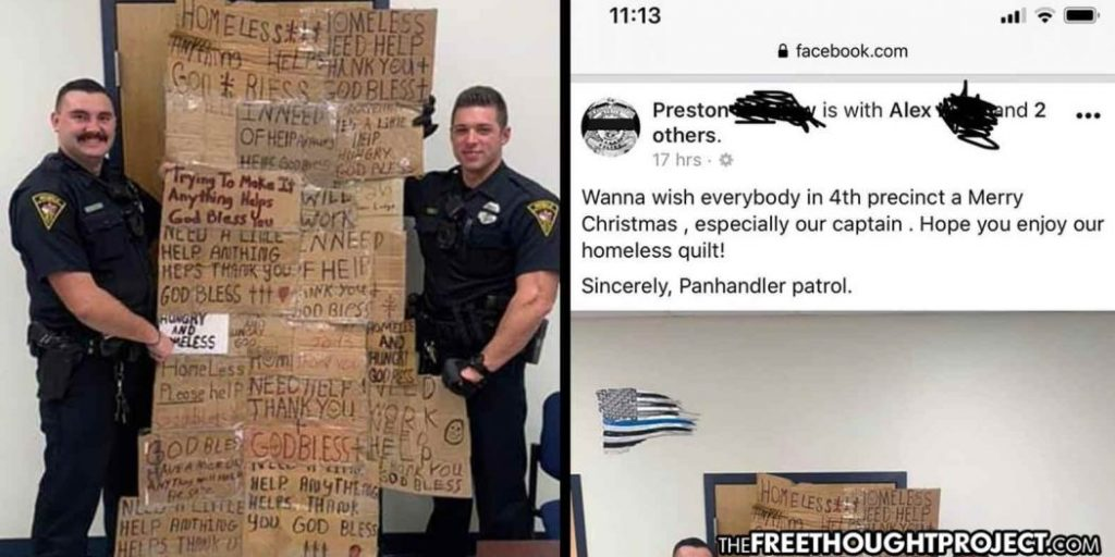 "Photo of Alabama: Cops Proudly Brag About Terrorizing the Poor During Christmas with ""Homeless Quilt"""