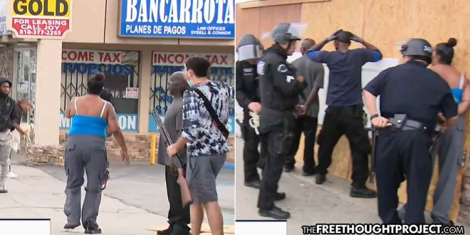 On LIVE TV Cops Detain Armed Store Owners Protecting Store As Looters Run Off