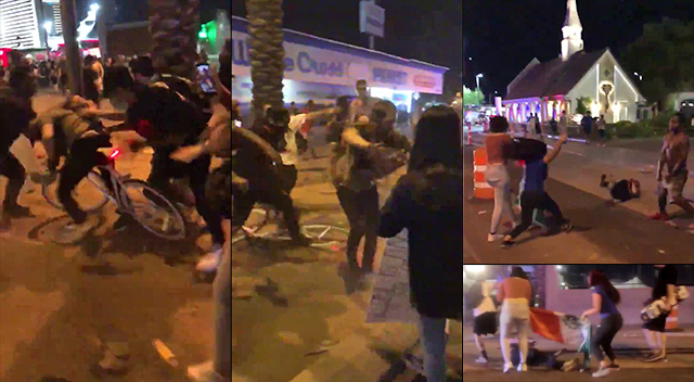 Las Vegas: Mob Attacks Man In The Street, Stomps On His Face, Waves Mexican Flag