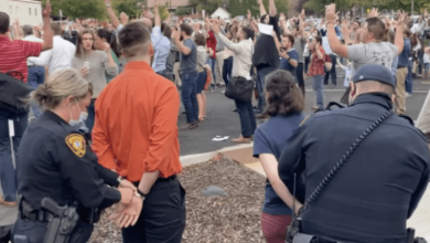 Photo of Hands Up, Don't Sing: Idaho Nazi Brownshirt Cops Arrest Christians While Singing Hymns For Violation Of Unconstitutional Mask Order