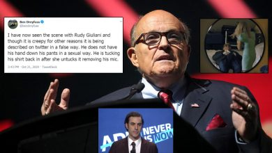 Photo of Sacha Baron Cohen's Rudy Giuliani Smear Debunked: Rudy 'Tucked In Shirt After Actress Untucked It,' Wasn't 'Sexual'