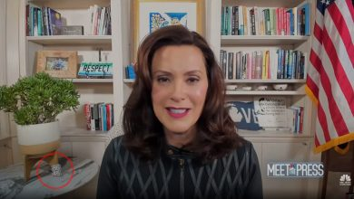 Photo of Michigan Gov. Whitmer (who loves to play VICTIM) displays symbols during live interview that call for assassination of President Trump