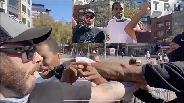 SHOCK: Antifa Mob Attack Black Man, Hurl Racial Abuse At Him For Protecting Trump Supporter