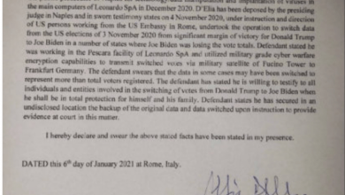 Photo of Sworn Affidavit: Personnel At US Embassy In Rome Engineered Voter Fraud