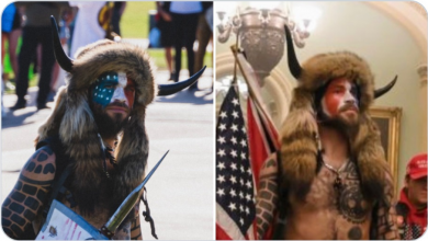 "Photo of FALSE FLAG CONFIRMED: ""Viking"" who stormed the Capitol Building previously photographed at BLM rally wearing the same outfit"