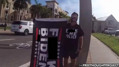Photo of Activist Prosecuted for Legal Free Speech, Fined $2,500 for Flag Saying 'F-Biden'