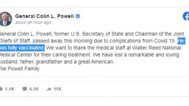 Photo of 'Fully Vaccinated' Colin Powell Dies Of Covid
