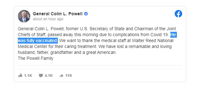 'Fully Vaccinated' Colin Powell Dies Of Covid